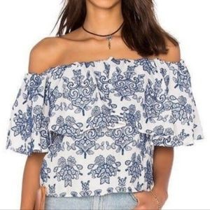 Adiva Off the shoulder embroidered top. Size S